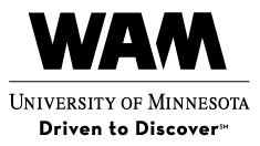 Logo for Weisman Art Museum, three lines of text reading WAM University of Minnesota Driven to Discover