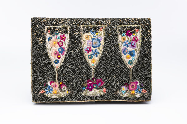 Beaded purse with three wine glasses full of colorful beaded bubble