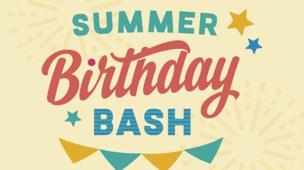 Colorful graphic with blue and yellow stars and the words Summer Birthday Bash in blue and red in the center