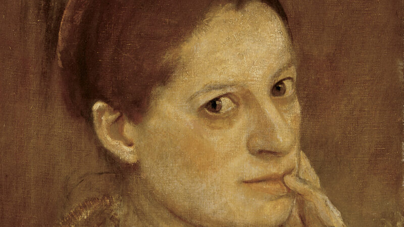 Painting in shades of tan and brown of a woman with her hand on her cheek looking toward the viewer