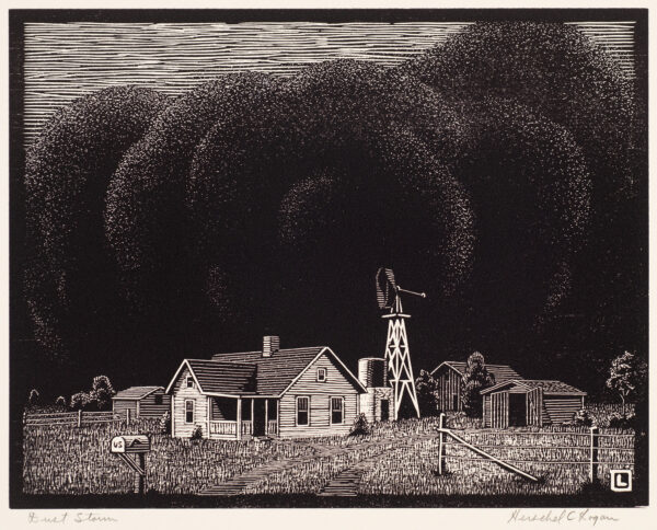 Woodcut with black cloud of dust looming over a farmstead with a house, windmill, and outbuildings.