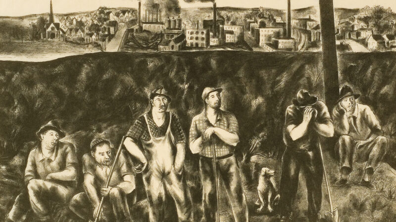 Black and white print of men standing next to each other holding shovels and tools with an industrial cityscape in the background