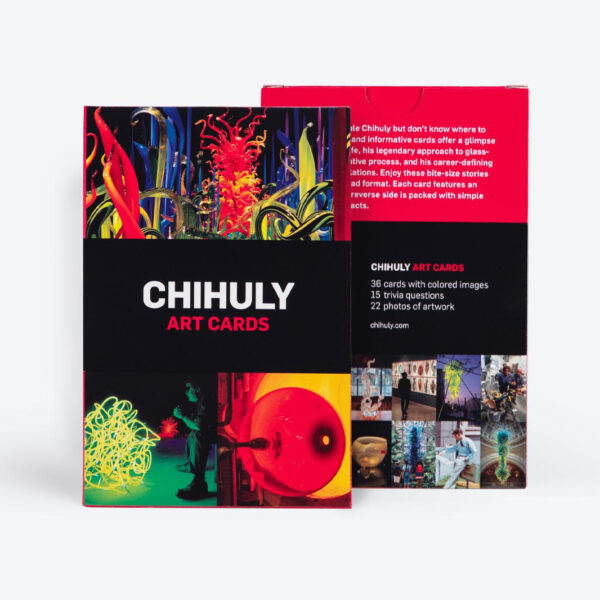 Photo of colorful cards with the word Chihuly on the front