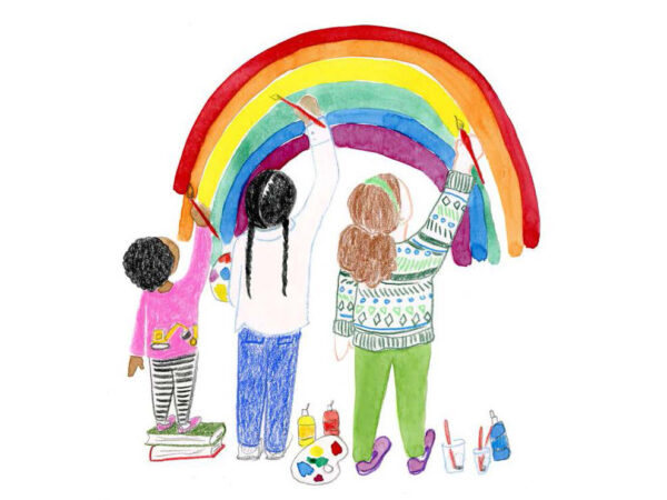 Cover of the 2021 Family and Youth book. Text at the top reads Wichita Art Museum, Family & Youth Programs, September through December 2021. Illustration of three childen painting a rainbow. The child at the far left is dark-skinned with short curly black hair, wearing a bright pink shirt and black and white striped pants, standing on two books. The child in the center has black hair in two long braids, dressed in a white shirt and blue pants and holding at artist's palatte at ther left. The child on the right has long brown hair in two full ponytails and dressed in a striped sweater with greens and blues, light green pants and pink shoes. An artist palatte, bottles of paint, and clear cups with paintbrushes are on the bottom of the picture, between the childred on the right. Text at the bottom of the page reads WAM's Fall Calendar is filled with fun and imagination.