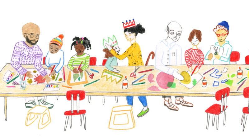 Color illustration of eight people, a mix of adults and kids, sitting at a long, tan table that is covered in art supplies and they are making art