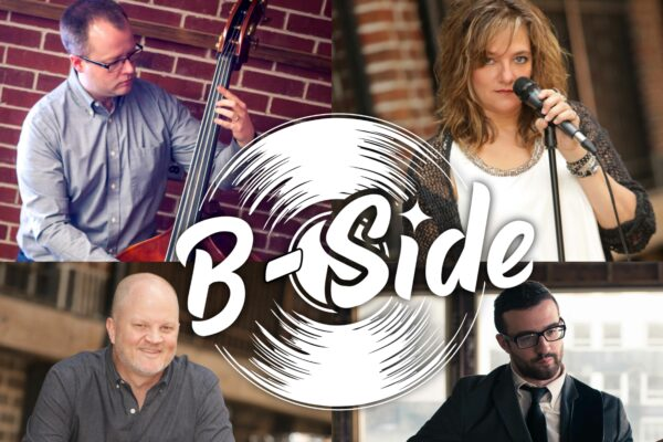 Four images of musicians with a whitewhite graphic with the words b-Side surrounded by representation of a record.