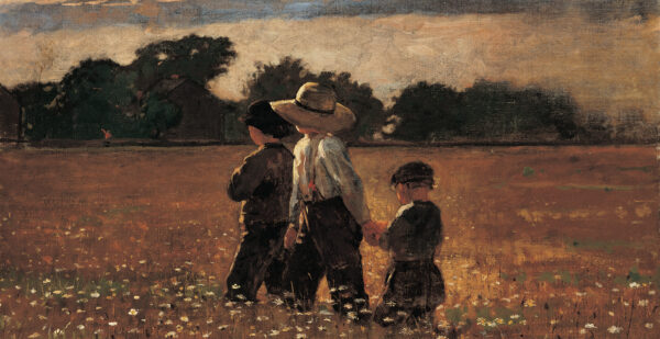 Three children, two in dark clothing and one wearing a straw hat, white shirt and dark pants, are centered in a landscape of wildflowers with white blooms, with a row of trees in the background and blue sky and clouds above