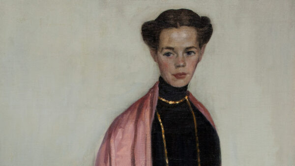 Painting of a white woman with dark hair wearing a black dress, gold necklaces and a pink shawl, standing and looking at the viewer