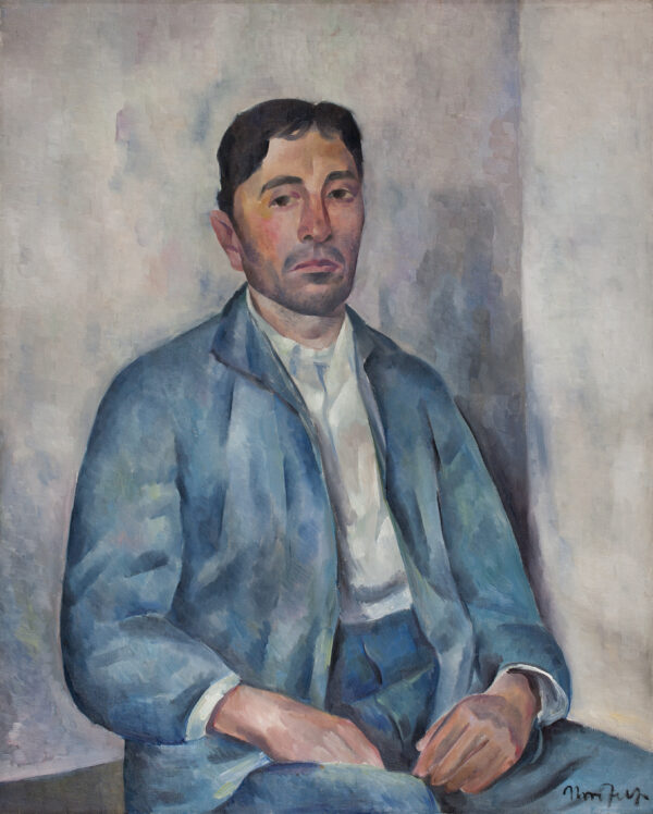 Painting of a white man with dark hair, a white shirt and light blue coat sitting down and looking at the viewer