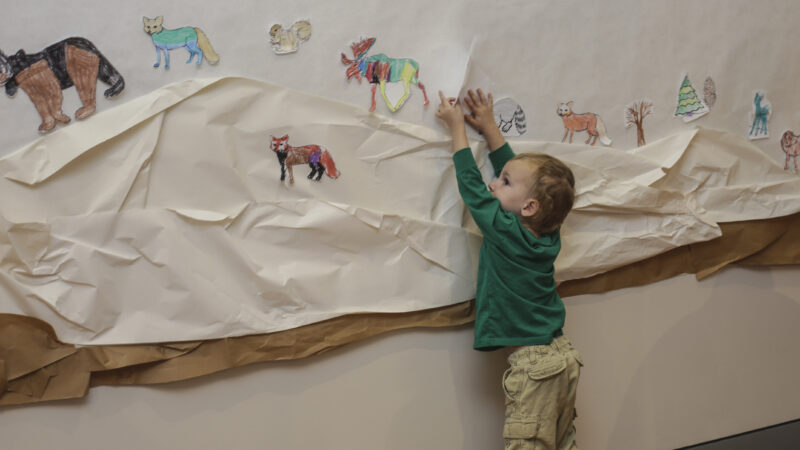Young boy dressed in a green, long-sleeved shirt and khaki pants reaches up to paper on the wall with animals, a bear, fox, moose, all in bright colors.