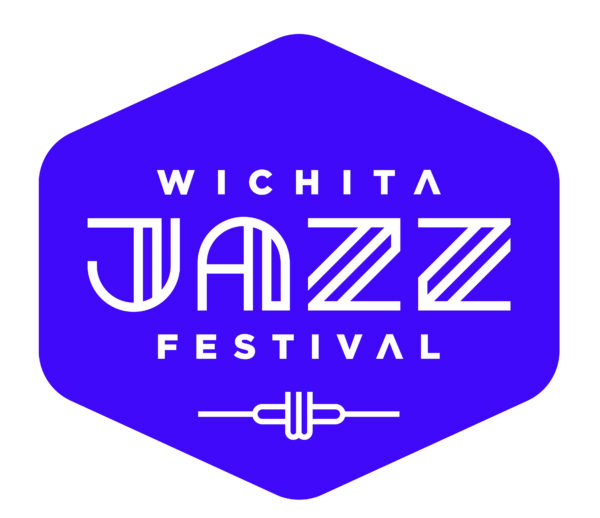 Graphic in a modified diamond shape with the text Wichita Jazz Festival in white on a purple background
