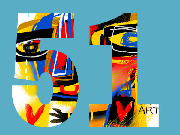 Logo with a turquoise blue background with the number 51 with an abstract pattern of various colors over a white square with the Wichita Arts Council logo.