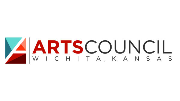 Logo for Wichita Arts Council: square box with three geometric shapes in blue, orange and red tones on the left with text in large type reading Arts Council in all caps over small type reading Wichita Kansas, also in all capsover