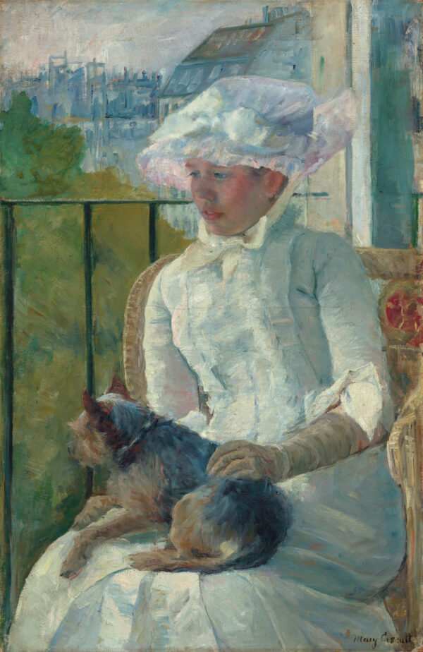 Painting of a young woman in a long white dress and hat holding a brown dog on her lap while she sits on a porch with the river and cityscape behind her