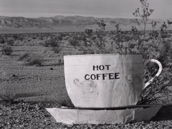 Black and white photograph of a large cup and sauce labeled
