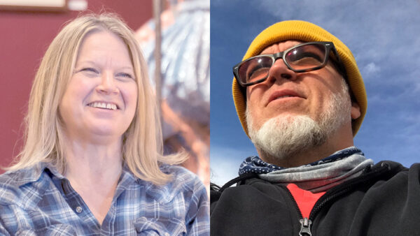 Photo of a white woman with blonde hair and a blue shirt on the left and photo of a white man with a beard, yellow hat and black shirt on the right