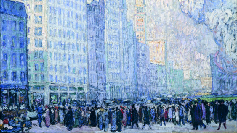Abstract cityscape in blue tones. Foreground is filled with people walking, painted in black and dark blue tones. Background is skyscrapers in blue tones with a sliver of a sunlight building in the background in gold tones.