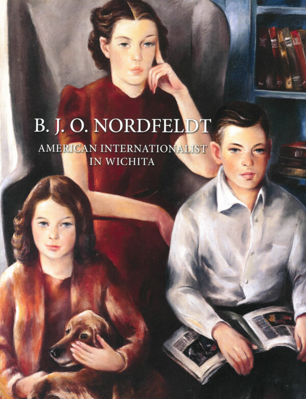 Painting of two girls and one boy looking at the viewer. One girls is wearing a brown dress and jacket, holding a broan dog. One girl is wearing a short-sleve burgundy dress. The boy is wearing a white, button-down shirt and hold a magazine in his lap. There are books on the shelf behind them.