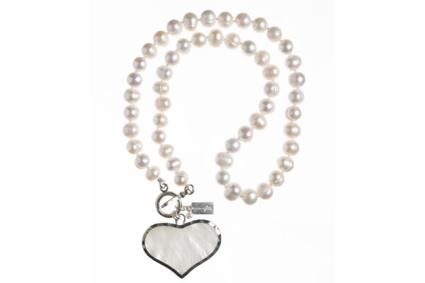 pearl necklace with a heart pendant