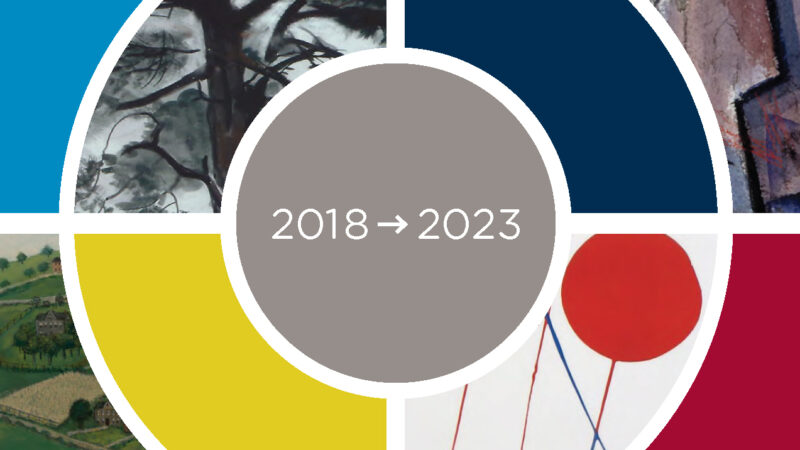 Illustration of a circle with colors and details of paintings inserted into abstract sections with the words 2018 and an arrow pointing right to 2023