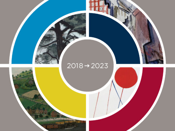 Illustration of a circle with colors and details of paintings inserted into abstract sections with the words 2018 and an arrow pointing right to 2023 and the words strategic plan in the upper left corner, Wichita Art Museum in the upper right corner, enrich lives in the lower right corner and build community in the lower left corner