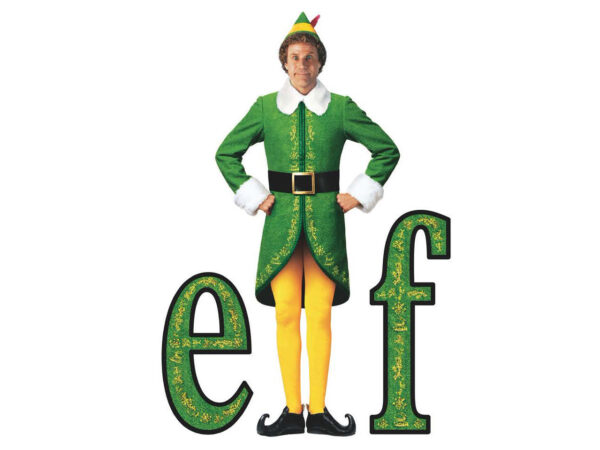 The word Elf in green and gold with a photo of a white man wearing black booties, yellow tights, a green hat and green coat trimmed in white getting ready to sing loud for all to hear