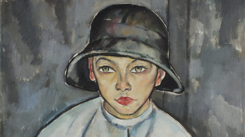 Abstract painting of white boy sitting and wearing dark round hat and white jacket with a background of dark and light greys